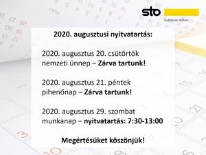 2020. augusztusi nyitvatartás